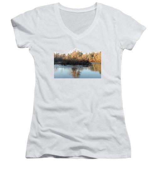Women's V-Neck T-Shirt (Junior Cut) featuring the photograph Flint River 27 by Kim Pate