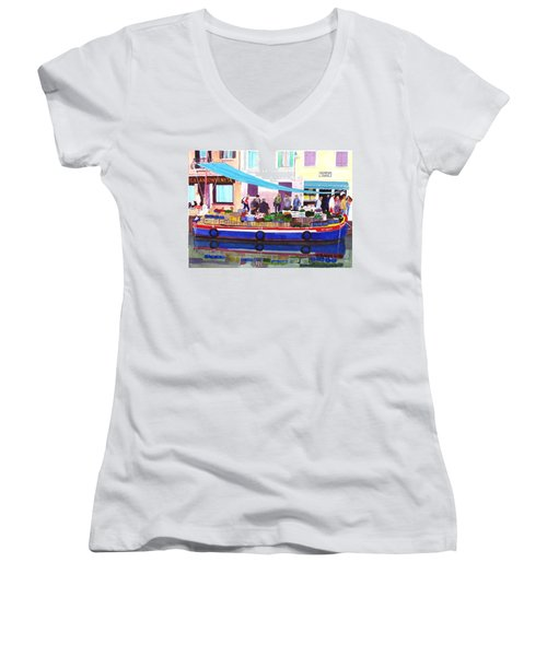 Floating Grocery Store Women's V-Neck T-Shirt (Junior Cut) by Mike Robles