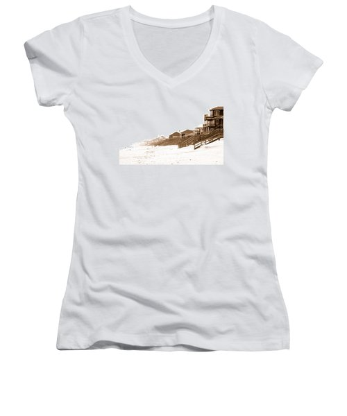 Florida Beach Sepia Print Women's V-Neck T-Shirt (Junior Cut) by Charles Beeler