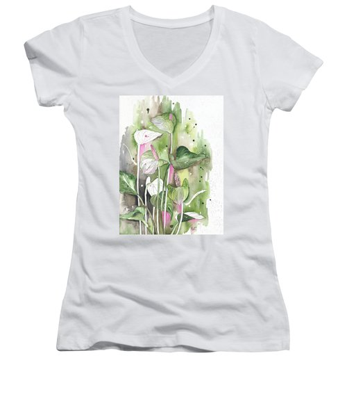 Flower Anthurium 04 Elena Yakubovich Women's V-Neck T-Shirt (Junior Cut) by Elena Yakubovich
