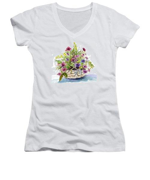 Flower Basket I Women's V-Neck