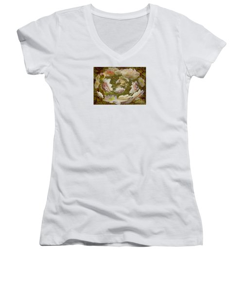 Flower Drift Women's V-Neck T-Shirt (Junior Cut) by Nareeta Martin