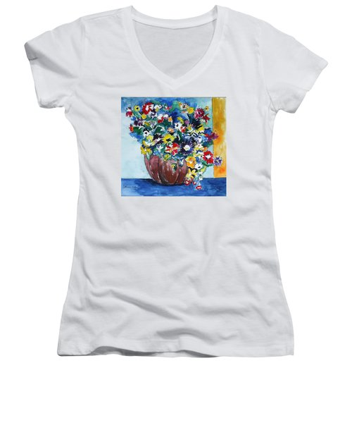 Flower Jubilee Women's V-Neck T-Shirt (Junior Cut) by Esther Newman-Cohen