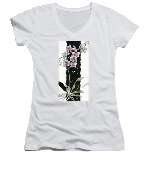 Women's V-Neck T-Shirt (Junior Cut) featuring the painting Flower Orchid 04 Elena Yakubovich by Elena Yakubovich