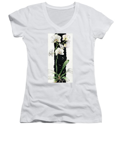 Flower Orchid 05 Elena Yakubovich Women's V-Neck T-Shirt (Junior Cut) by Elena Yakubovich