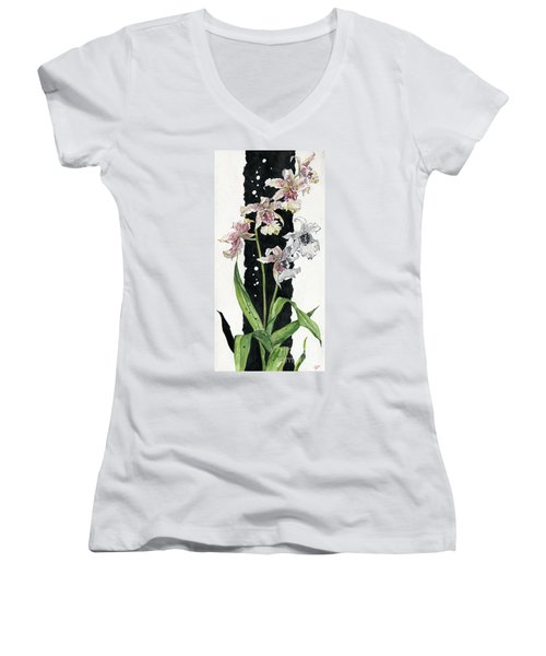 Women's V-Neck T-Shirt (Junior Cut) featuring the painting Flower Orchid 06 Elena Yakubovich by Elena Yakubovich