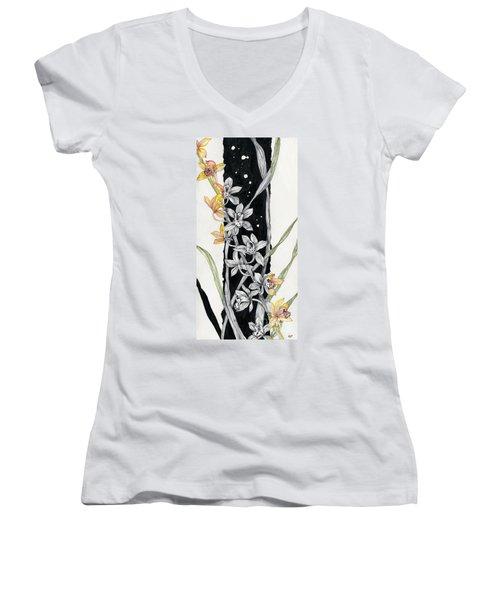 Women's V-Neck T-Shirt (Junior Cut) featuring the painting Flower Orchid 07 Elena Yakubovich by Elena Yakubovich