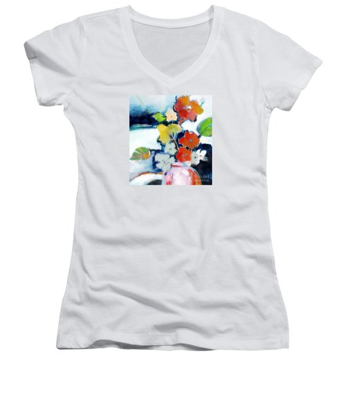 Women's V-Neck T-Shirt (Junior Cut) featuring the painting Flower Vase No.1 by Michelle Abrams