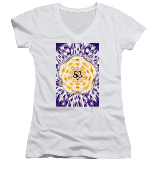 Women's V-Neck T-Shirt (Junior Cut) featuring the drawing Flowering Emotion by Derek Gedney