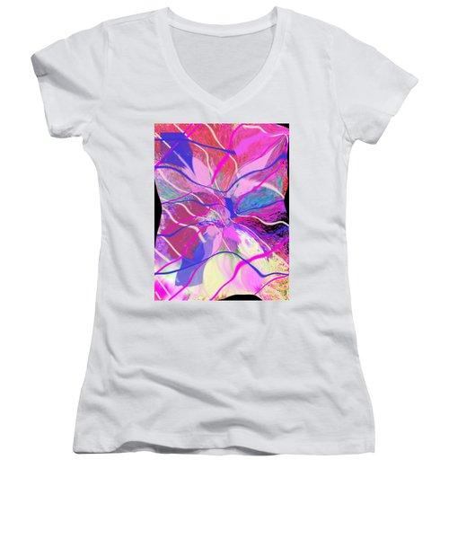 Original Contemporary Abstract Art Flowers From Heaven Women's V-Neck T-Shirt (Junior Cut) by RjFxx at beautifullart com