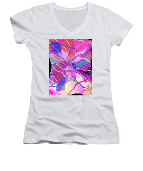 Original Contemporary Abstract Art Flowers From Heaven Women's V-Neck T-Shirt