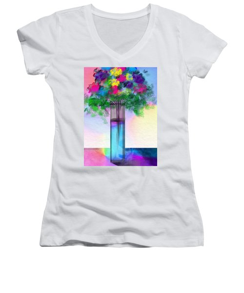 Women's V-Neck T-Shirt (Junior Cut) featuring the digital art Flowers In A Glass Vase by Frank Bright