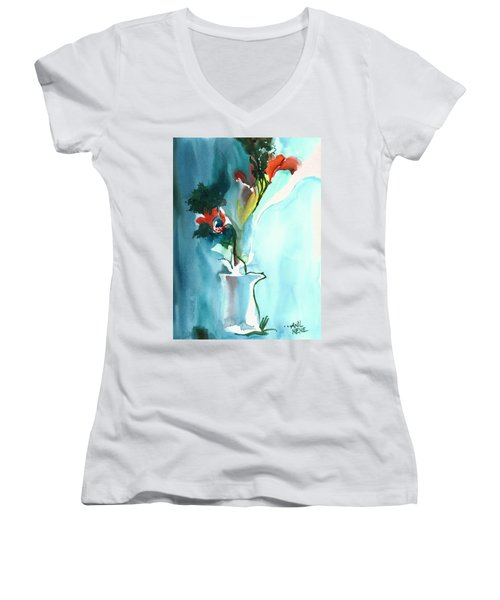 Flowers In Vase Women's V-Neck T-Shirt (Junior Cut) by Anil Nene