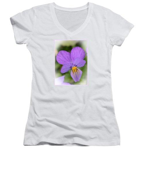 Flowers That Smile Women's V-Neck T-Shirt (Junior Cut) by Kerri Farley