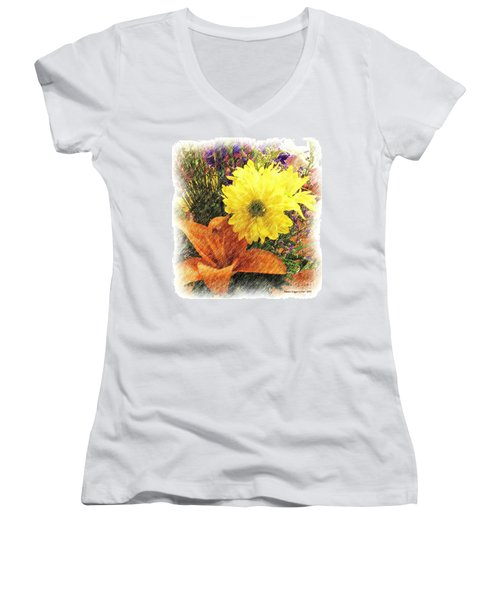 Women's V-Neck T-Shirt (Junior Cut) featuring the photograph Flowers With Love by Luther Fine Art