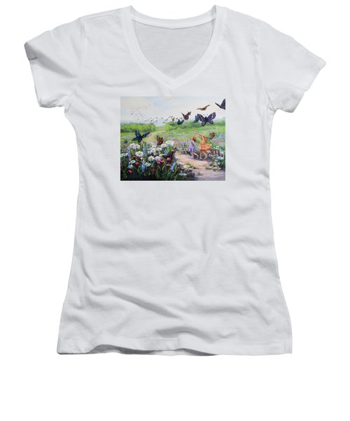 Women's V-Neck T-Shirt (Junior Cut) featuring the painting Flutterby Dreams by Karen Ilari