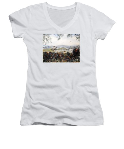 Flying South For The Winter Women's V-Neck T-Shirt (Junior Cut) by Vicki  Housel