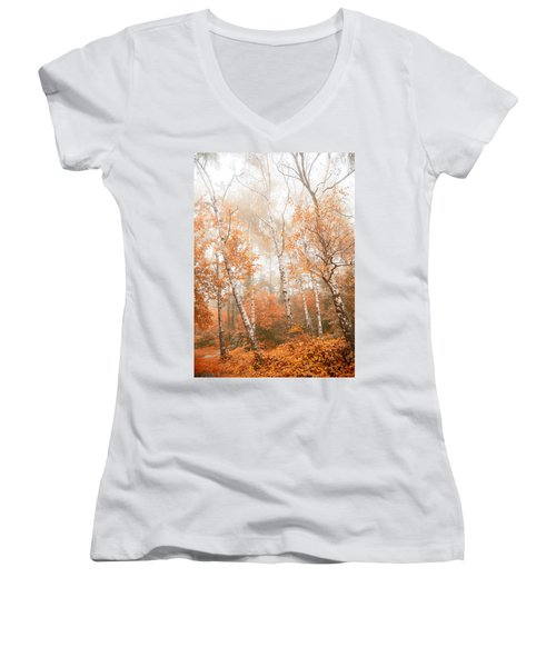 Foggy Autumn Aspens Women's V-Neck (Athletic Fit)