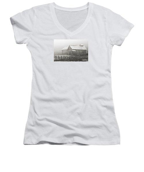 Foggy Barn Women's V-Neck T-Shirt (Junior Cut) by Joan Davis