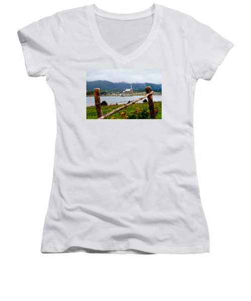 Foggy Day In Cheticamp Women's V-Neck (Athletic Fit)