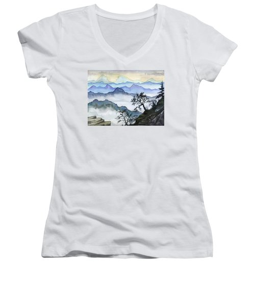 Foggy Mountaines Sunset View  Women's V-Neck T-Shirt
