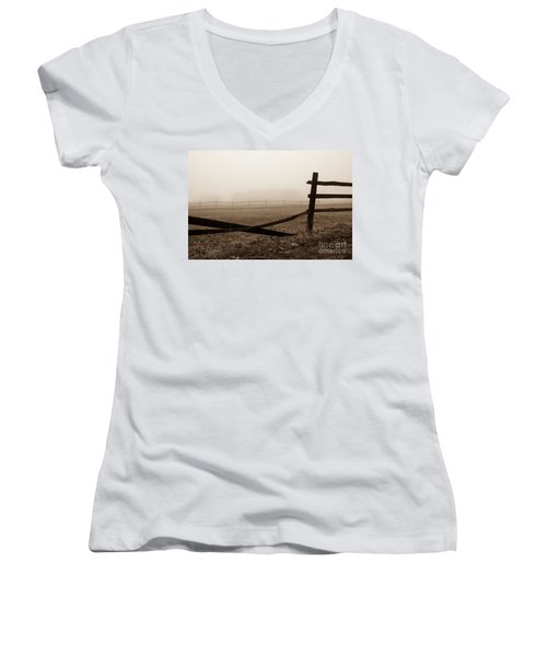 Foggy Pasture Women's V-Neck (Athletic Fit)