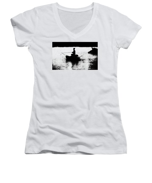 Foggy River Dawn Women's V-Neck