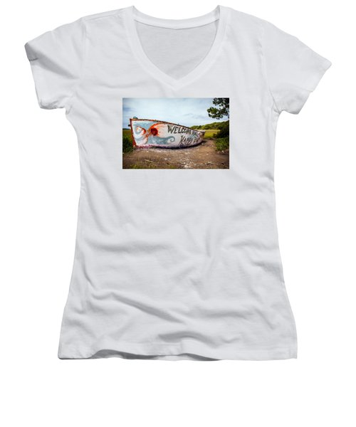 Women's V-Neck T-Shirt (Junior Cut) featuring the photograph Folly Boat by Sennie Pierson