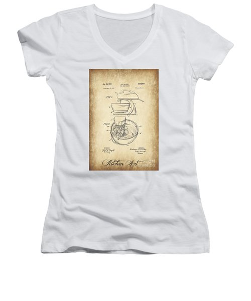 Food Mixer Patent Kitchen Art Women's V-Neck T-Shirt