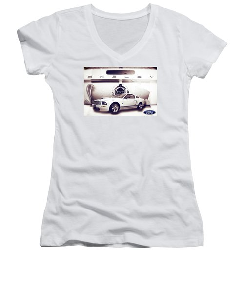 Ford Mustang Shelby Gt  Women's V-Neck (Athletic Fit)