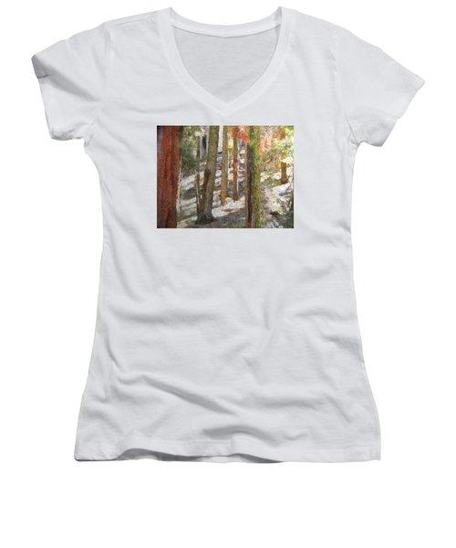 Forest For The Trees Women's V-Neck T-Shirt (Junior Cut) by Jeff Kolker