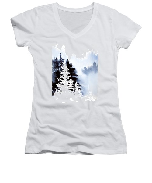Women's V-Neck T-Shirt (Junior Cut) featuring the painting Forest Indigo by Teresa Ascone
