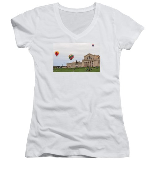 Forest Park Balloon Race Women's V-Neck (Athletic Fit)