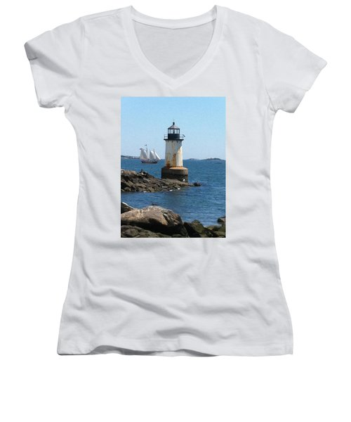 Women's V-Neck T-Shirt (Junior Cut) featuring the photograph Fort Pickering Light by Denyse Duhaime
