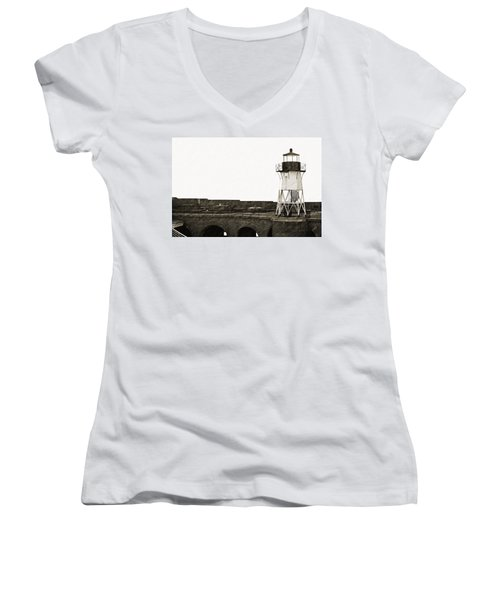Fort Point Lighthouse Women's V-Neck T-Shirt (Junior Cut) by Holly Blunkall