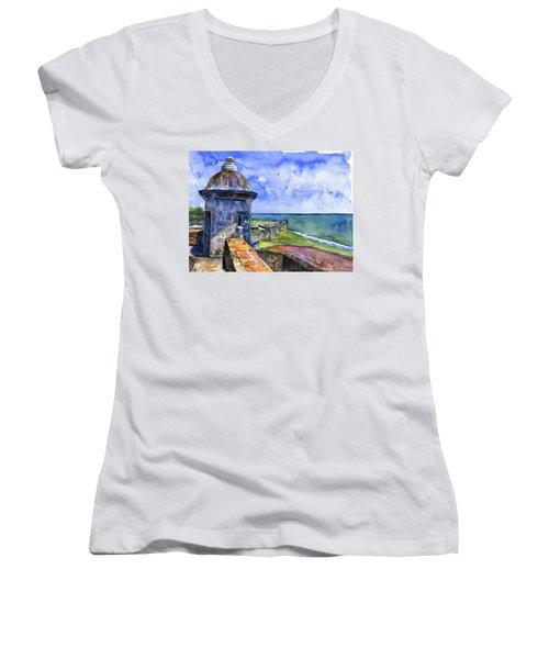 Fort San Juan Puerto Rico Women's V-Neck T-Shirt (Junior Cut) by John D Benson