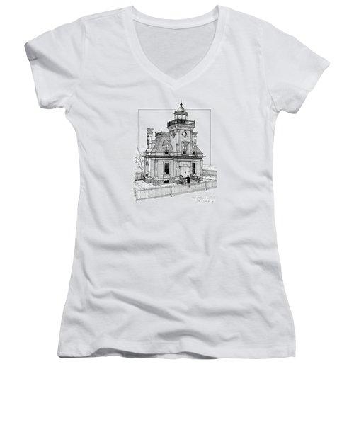 Fort Tompkins Lighthouse Women's V-Neck T-Shirt (Junior Cut) by Ira Shander