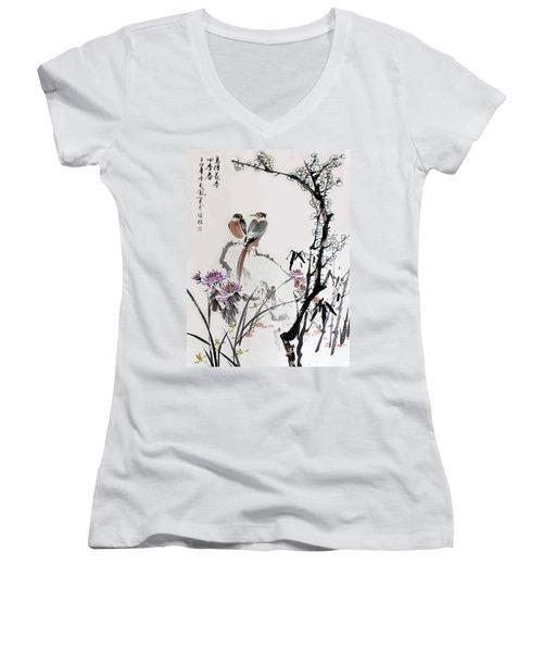 Four Seasons In Harmony Women's V-Neck T-Shirt (Junior Cut) by Yufeng Wang