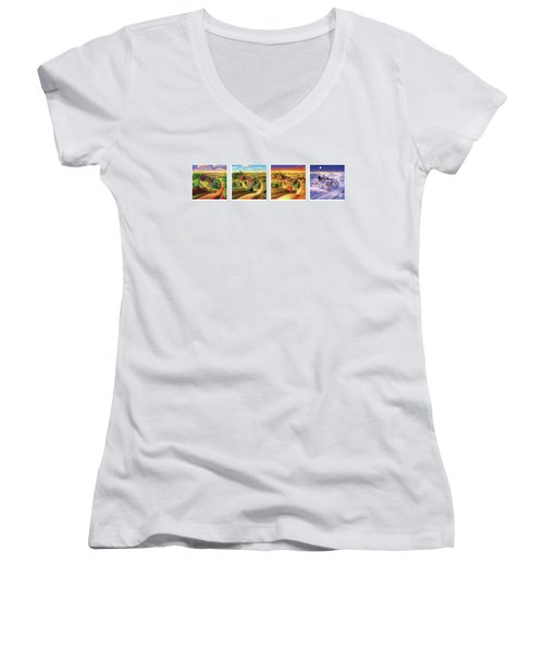 Four Seasons On The Farm Women's V-Neck