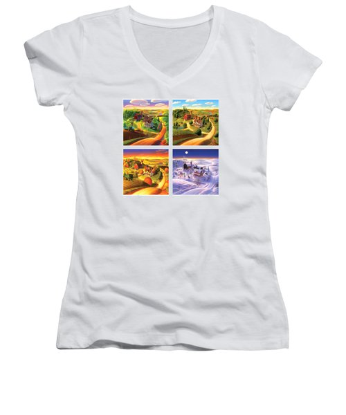 Four Seasons On The Farm Squared Women's V-Neck