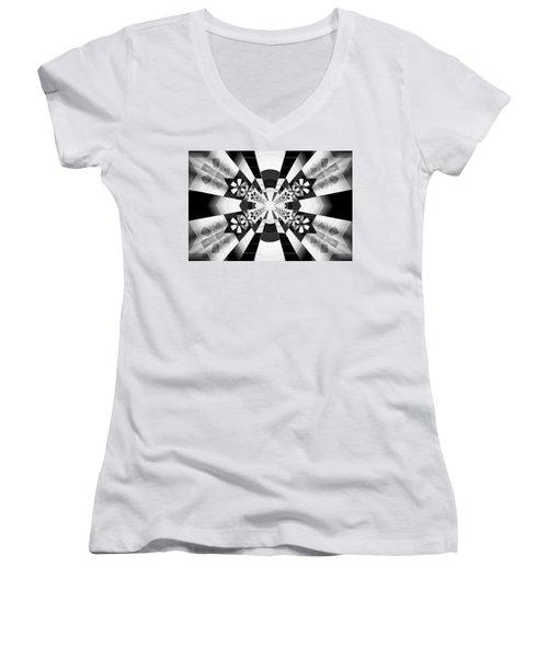 Women's V-Neck T-Shirt (Junior Cut) featuring the drawing Four Star Gateway by Derek Gedney