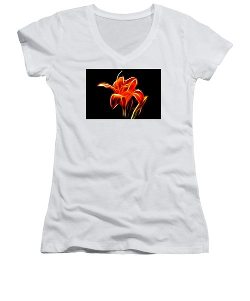 Fractaled Lily Women's V-Neck T-Shirt