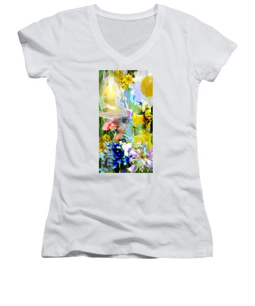 Women's V-Neck T-Shirt (Junior Cut) featuring the digital art Framed In Flowers by Cathy Anderson