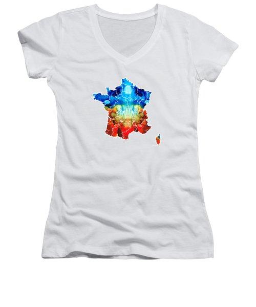 France - European Map By Sharon Cummings Women's V-Neck T-Shirt (Junior Cut)