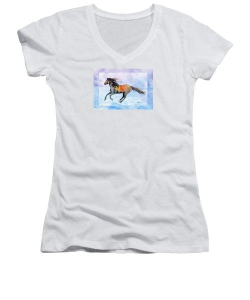 Da114 Free Gallop By Daniel Adams Women's V-Neck