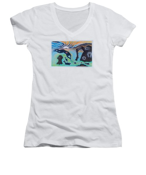 Free Man Off Of Pirates Cove Women's V-Neck (Athletic Fit)