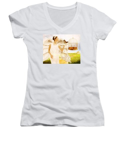 Freedom Song With Scripture Women's V-Neck T-Shirt