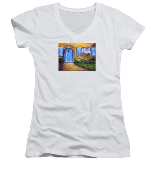 French Cottage Women's V-Neck T-Shirt (Junior Cut) by Loretta Luglio