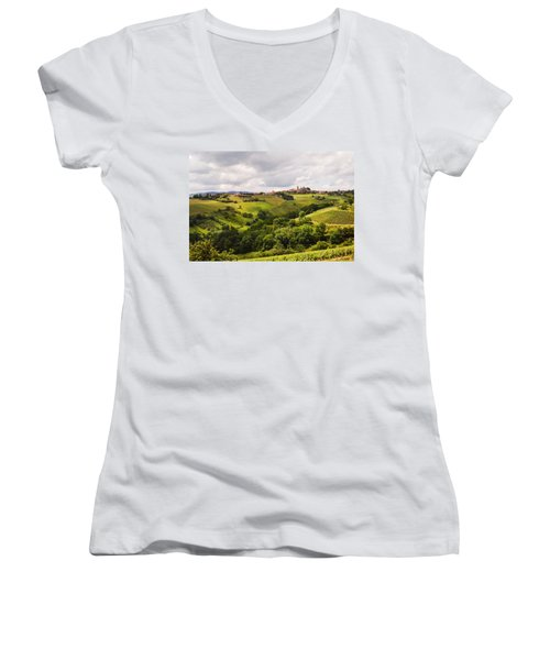 Women's V-Neck T-Shirt (Junior Cut) featuring the photograph French Countryside by Allen Sheffield