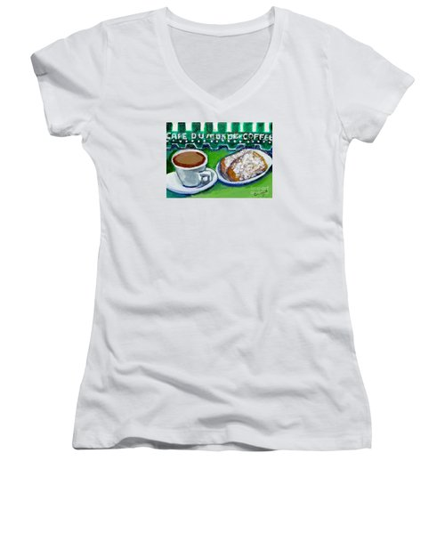 Women's V-Neck T-Shirt (Junior Cut) featuring the painting French Quarter Delight by Ecinja